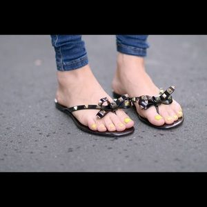 Shoes - Rock stud jelly thong sandals